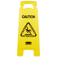 Rubbermaid FG611200YEL 25 inch Yellow Double Sided Multi-Lingual Caution Wet Floor Sign