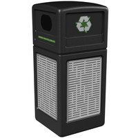 Commercial Zone 746106199 Precision Series 42 Gallon Black Recycling Receptacle with Stainless Steel Horizontal Line Panels