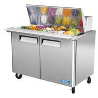 Turbo Air MST-48-18 48 inch M3 Series Mega Top Refrigerated Salad / Sandwich Prep Table with Two Doors