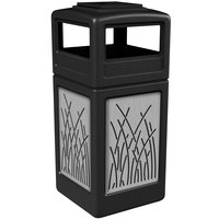 Commercial Zone 733016199 Precision Series 42 Gallon Black Trash Receptacle with Stainless Steel Reed Panels and Ashtray Lid