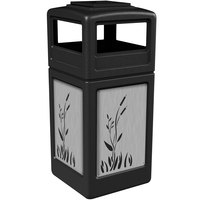 Commercial Zone 733096199 Precision Series 42 Gallon Black Trash Receptacle with Stainless Steel Cattail Panels and Ashtray Lid