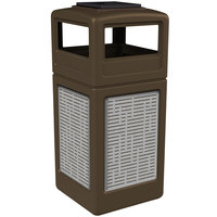Commercial Zone 733006299 Precision Series 42 Gallon Brown Trash Receptacle with Stainless Steel Horizontal Line Panels and Ashtray Lid
