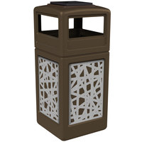 Commercial Zone 733026299 Precision Series 42 Gallon Brown Trash Receptacle with Stainless Steel Intermingle Panels and Ashtray Lid