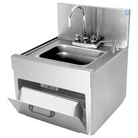 Eagle Group WSD14-15 Spec-Bar 1 Bowl Wall Mounted Underbar Hand Sink with Deck Mount Gooseneck Faucet, Paper Towel Dispenser, and Soap Dispenser