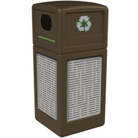 Commercial Zone 746106299 Precision Series 42 Gallon Brown Recycling Receptacle with Stainless Steel Horizontal Line Panels