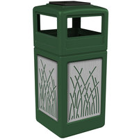 Commercial Zone 733016099 Precision Series 42 Gallon Green Trash Receptacle with Stainless Steel Reed Panels and Ashtray Lid