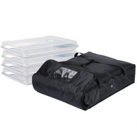 ServIt Soft-Sided Bun Pan Carrier, Black Nylon with 4 Half Size Bun Pans and Bun Pan Covers, 28 inch x 20 inch x 6 inch
