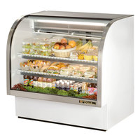 True TCGG-48-LD 48 inch White Curved Glass Refrigerated Deli Case With Stainless Steel Top and Trim