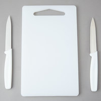 Choice 10 inch x 6 inch 3-Piece Bar Cutting Board and Knife Set