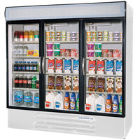 Beverage Air MMF72-5-W-LED White Marketmax 3 Glass Door Merchandising Freezer with LED Lighting and Swing Doors - 72 Cu. Ft.
