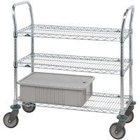 Metro 3SPN33PS Super Erecta Stainless Steel Three Shelf Heavy Duty Utility Cart with Polyurethane Casters - 24 inch x 60 inch x 39 inch