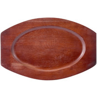 11 1/2 inch x 7 1/2 inch Mahogany Oval Wood Sizzler Platter Underliner