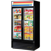 True GDM-35F~TSL01 Black Glass Swing Door Merchandiser Freezer with LED Lighting - 35 Cu. Ft.