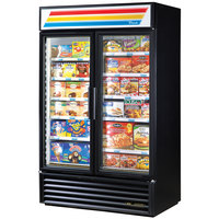 True GDM-43F-HC~TSL01 BLK Black Glass Swing Door Merchandiser Freezer with LED Lighting - 40.6 Cu. Ft.