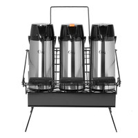 Choice 4-Piece 2.2 Liter Glass Lined Lever Airpot and Merchandising Wire Rack Set