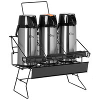 Choice 4-Piece Airpot Merchandising Rack Set with (1) Rack and (3) 2.2 Liter Glass Lined Airpots