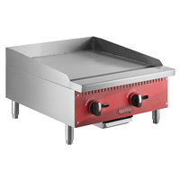 Avantco AG24MG 24 inch Countertop Gas Griddle with Manual Controls - 60,000 BTU
