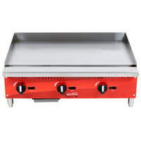 Avantco AG36MG 36 inch Countertop Gas Griddle with Manual Controls - 90,000 BTU