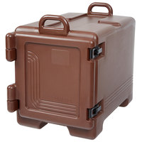 Cambro UPC300131 Ultra Pan Carrier® Dark Brown Front Loading Insulated Food Pan Carrier with Handles - Holds 4 Pans