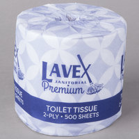 Lavex Janitorial 4 1/2 inch x 3 1/2 inch Premium Individually-Wrapped 2-Ply Standard 500 Sheet Toilet Paper Roll   - 96/Case