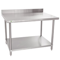Regency 36 inch x 48 inch 16 Gauge Stainless Steel Commercial Work Table with 4 inch Backsplash and Undershelf