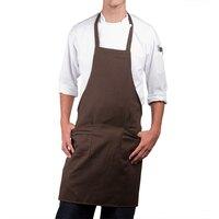 Choice Brown Full Length Bib Apron with Pockets - 30 inchL x 34 inchW