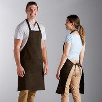 Choice Brown Poly-Cotton Bib Apron with 2 Pockets - 34 inchL x 32 inchW