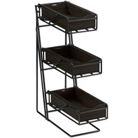 Cal-Mil 1235-13-96 Black 3 Tier Flatware Display with Bamboo Midnight Bins - 5 1/4 inch x 14 inch x 18 inch