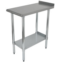 Advance Tabco FTS-3015 15 inch x 30 inch 18 Gauge 430 Stainless Steel Filler Table with Backsplash and Stainless Steel Undershelf