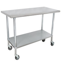 Advance Tabco MSLAG-306C 30 inch x 72 inch 16 Gauge Stainless Steel Work Table with Undershelf and Casters