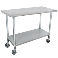 Advance Tabco MSLAG-305C 30 inch x 60 inch 16 Gauge Stainless Steel Work Table with Undershelf and Casters