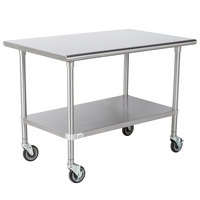 Advance Tabco MSLAG-304C 30 inch x 48 inch 16 Gauge Stainless Steel Work Table with Undershelf and Casters