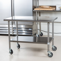 ... Advance Tabco MSLAG 304C 30 Inch X 48 Inch 16 Gauge Stainless Steel Work  Table