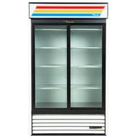 True GDM-45-HC-LD 51 inch White Refrigerated Sliding Glass Door Merchandiser with LED Lighting