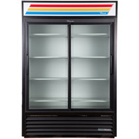 True GDM-47-HC-LD 54 inch Black Refrigerated Sliding Glass Door Merchandiser with LED Lighting