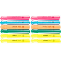 Universal UNV08867 Chisel Tip Desk Style Highlighter, Fluorescent Color Assortment - 12/Box