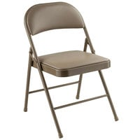 National Public Seating 951 Commercialine Beige Metal Folding Chair with Beige Padded Vinyl Seat