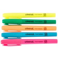 Universal UNV08850 Chisel Tip Pen Style Pocket Highlighter, Fluorescent Color Assortment - 5/Box