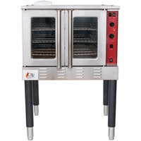 Cooking Performance Group FGC100N Single Deck Full Size Natural Gas Convection Oven with Legs - 54,000 BTU