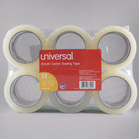 Universal One UNV66100 2 inch x 110 Yards Clear General Purpose Acrylic Box Sealing Tape - 12/Pack