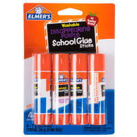 Elmer's E543 0.24 oz. Disappearing Purple School Glue Stick - 4/Pack