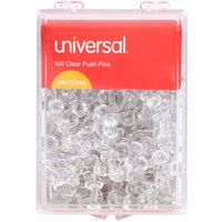 Universal UNV31304 3/8 inch Clear Plastic Push Pin - 10/Pack