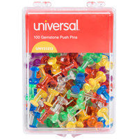 Universal UNV31312 3/8 inch Plastic Push Pin in Assorted Gemstone Colors - 100/Pack