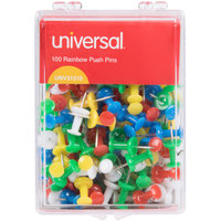 Universal UNV31310 3/8 inch Plastic Push Pin in Assorted Rainbow Colors - 100/Pack