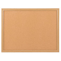Universal UNV43602 18 inch x 24 inch Natural Cork Board with Oak Frame