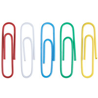 Universal UNV95001 Assorted Color #1 Standard Vinyl-Coated Paper Clip - 500/Box