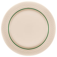 Homer Laughlin 1430-0333 Green Jade Gothic Off White 10 inch Mid Rim China Plate - 24/Case
