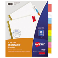 Avery 11123 Big Tab White Paper 8-Tab Multi-Color Insertable Dividers