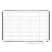 MasterVision MA0593830 48 inch x 36 inch White Grid Dry Erase Planning Board - 2 inch x 3 inch Grid