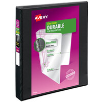 Avery 9300 Black Durable View Binder with 1 inch Non-Locking One Touch EZD Rings